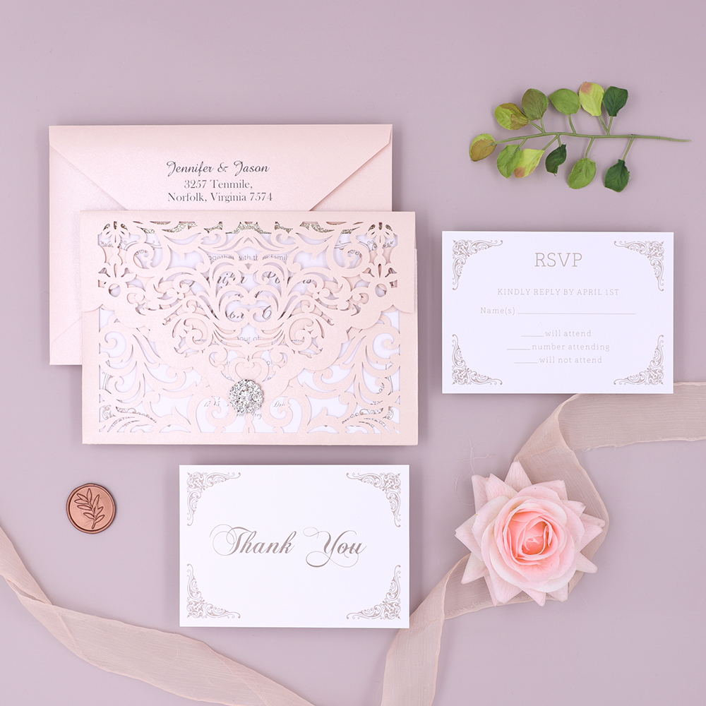 Delicate Blush Filigree Laser Cut Pocket Wedding Invitation PBWED017