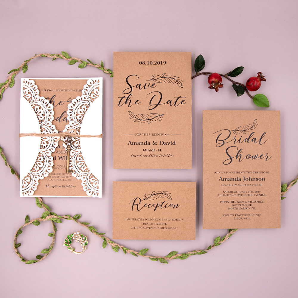 Country Ivory Shimmer Laser Cut Wedding Invitation with Kraft paper and Delicate Key PBWED018