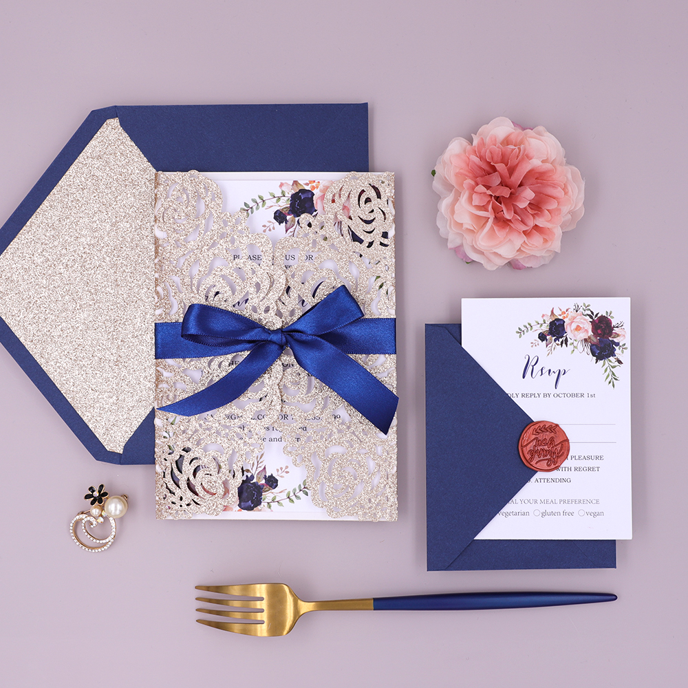 Rose Gold Glittery Laser Cut Wedding Invitation with Navy Ribbon and Floral Insert PBWED019