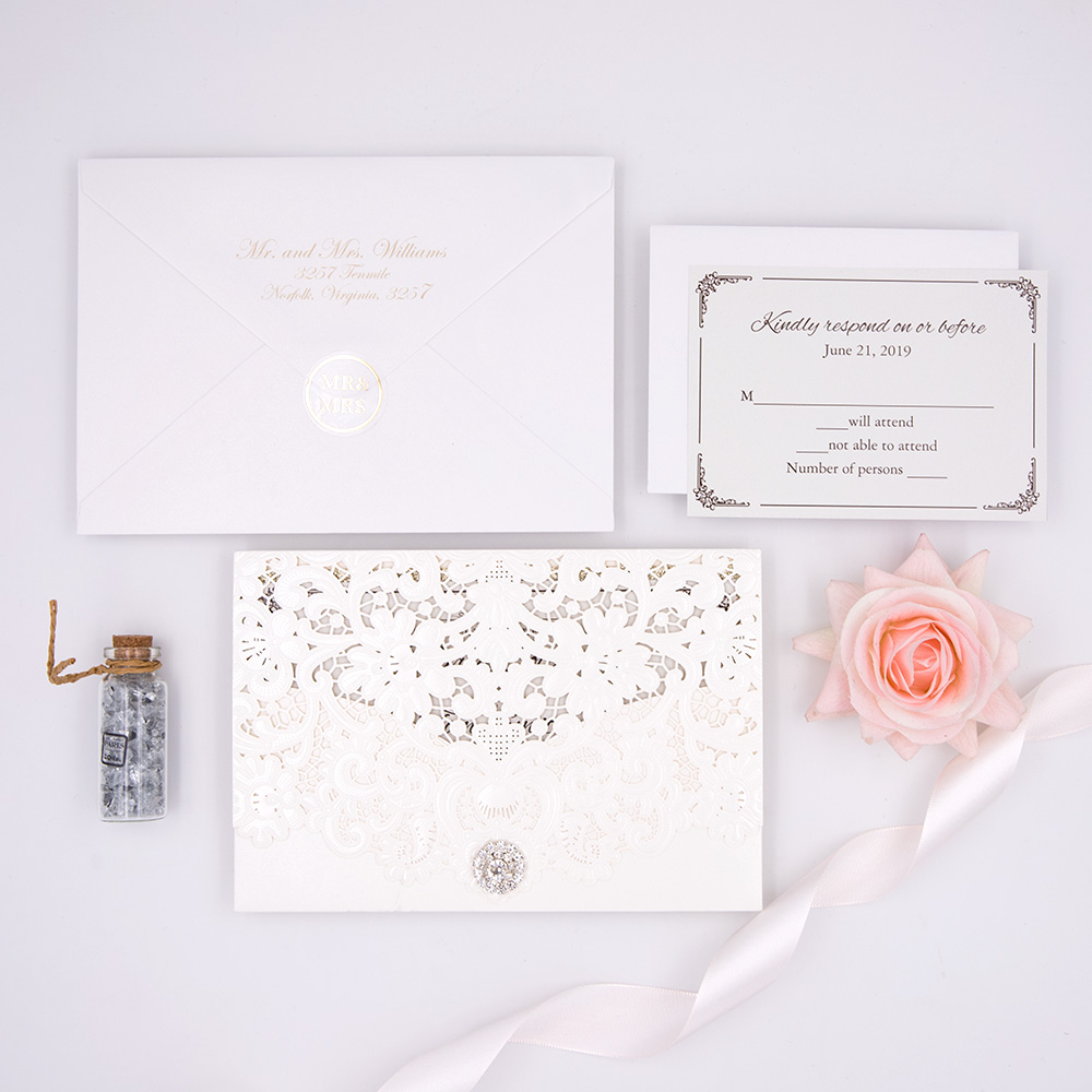 Classic Pearl White Shimmer Laser Cut Wedding Invitation with Bling Rhinestone PBWED020