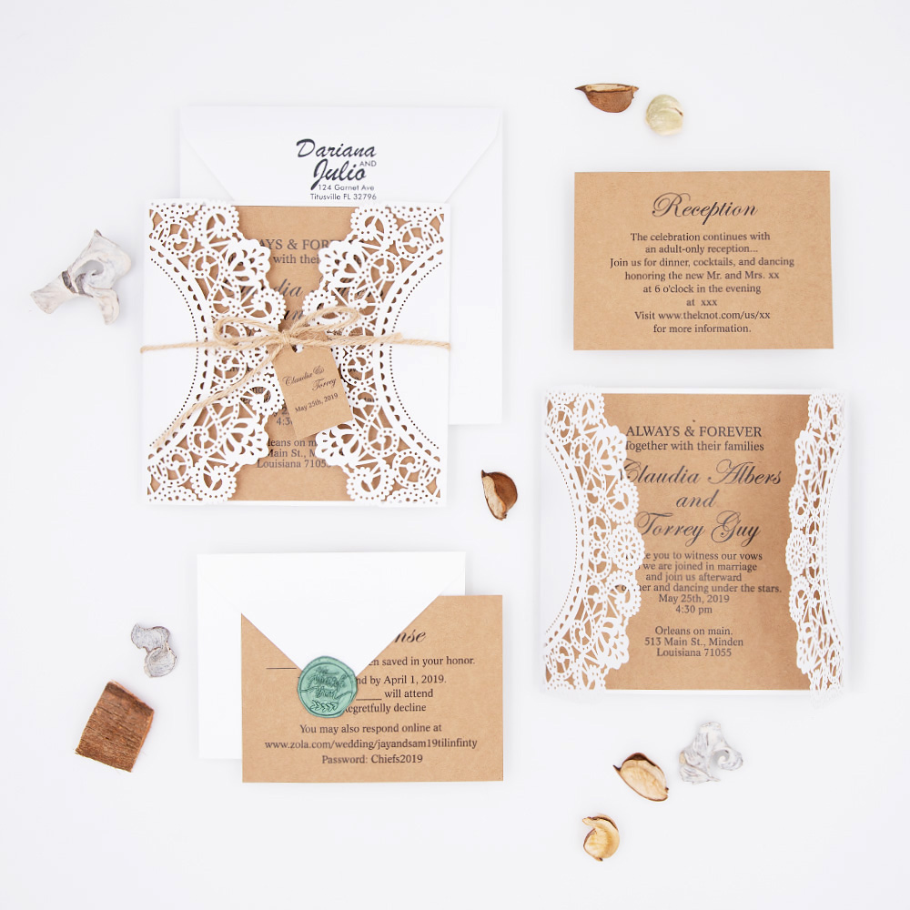 Rustic White Shimmer Laser Cut Wedding Invitation with Kraft Paper and Twine PBWED021