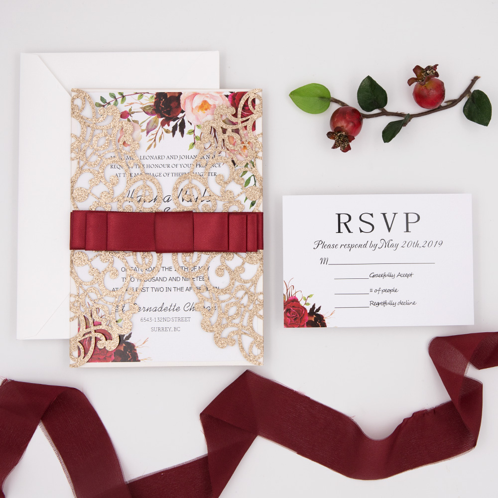 Floral Rose Gold Glittery Laser Cut Wedding Invitation with Burgundy Ribbon PBWED022