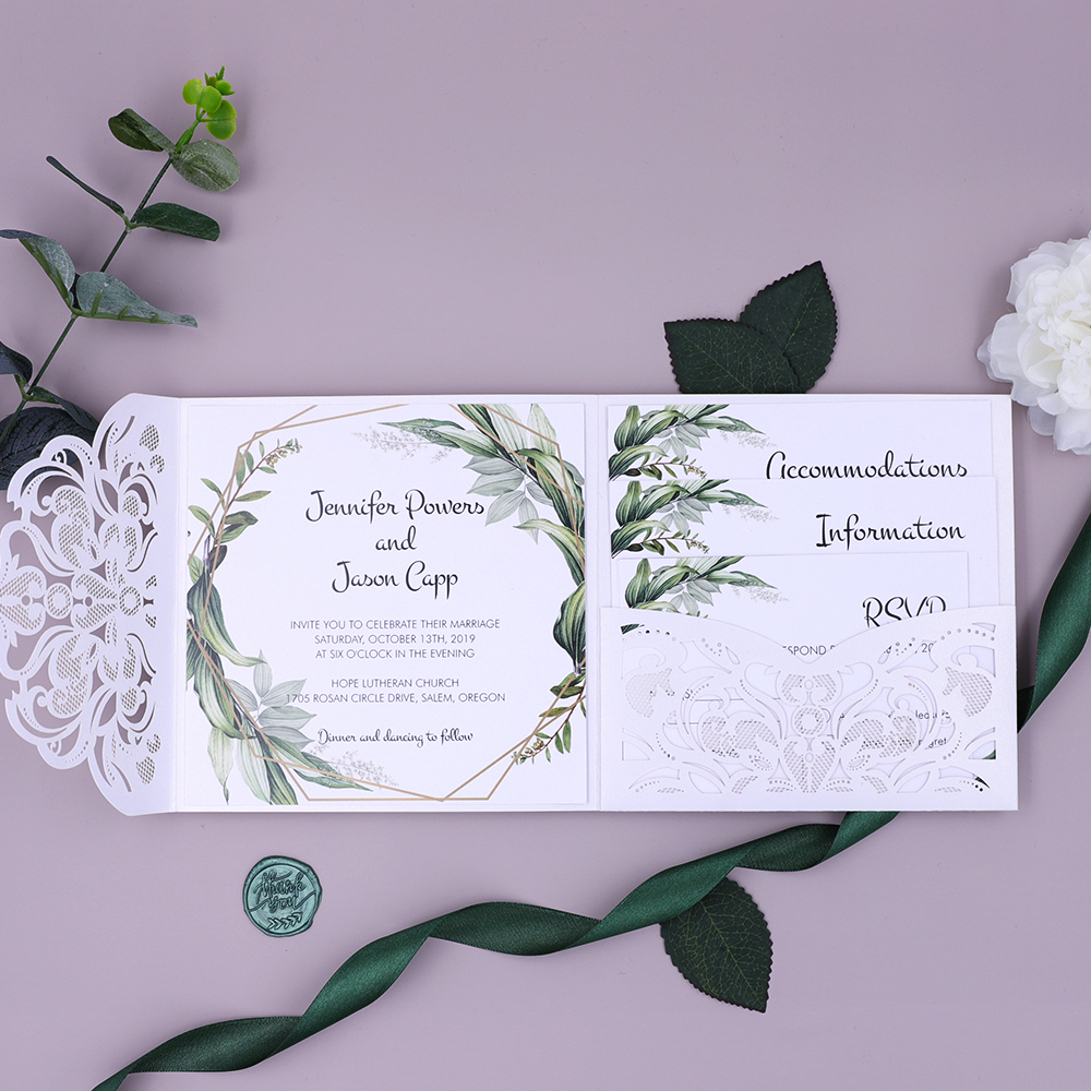 Greenary Leaves Pearl White Shimmer Laser Cut Pocket Wedding Invitation PBWED023