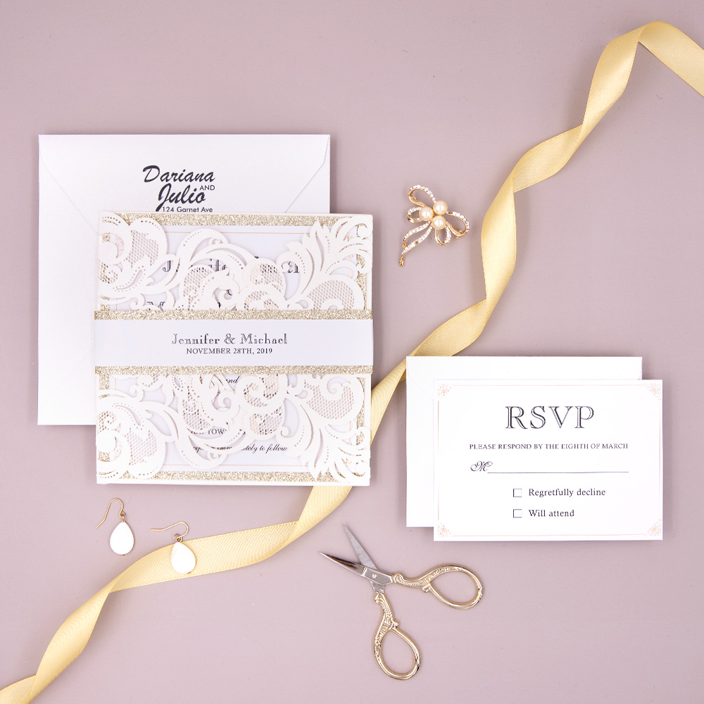 Ivory Shimmer Laser Cut Wedding Invites with Champagne Gold Glitter and Belly Band PBWED024