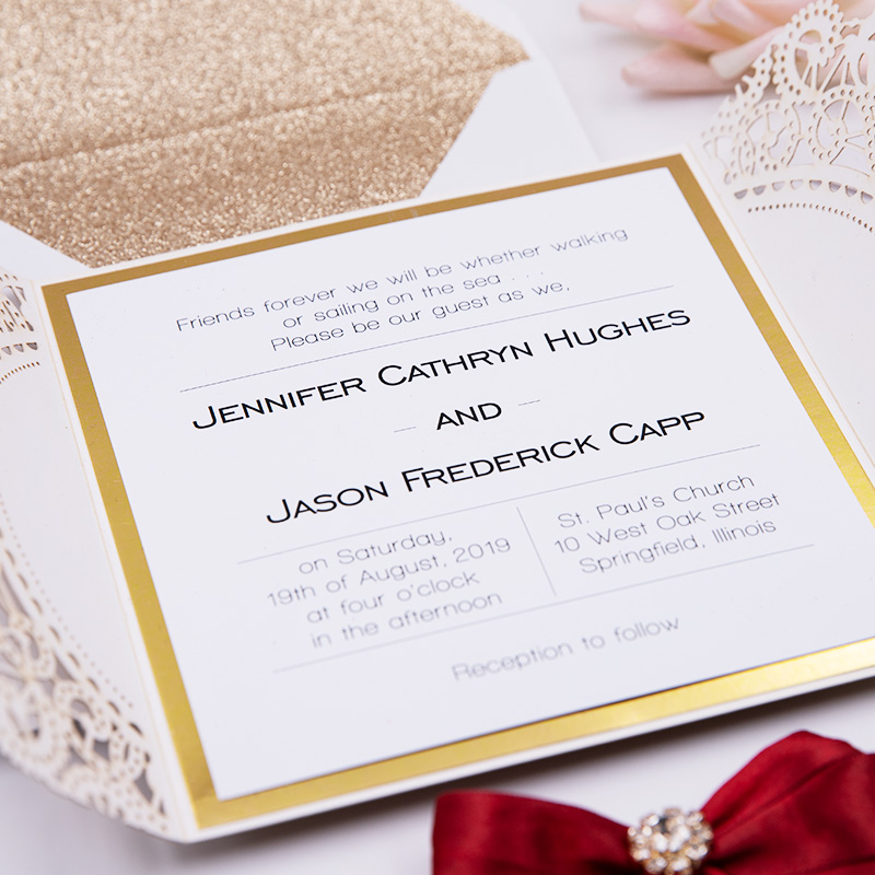 Exquisite Rose Gold Glittery Laser Cut Wedding Invite with Navy Ribbon and Bling Rhinestone PBWED025