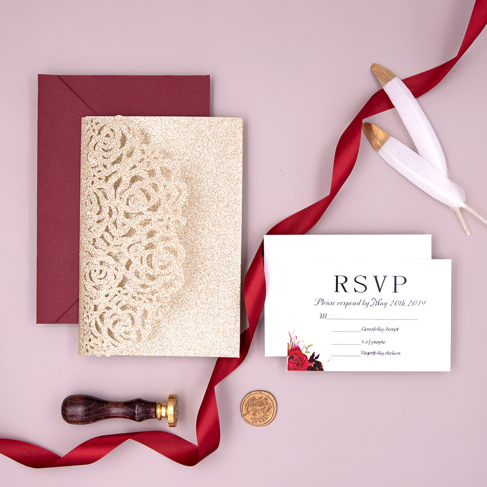 Glittery Champagne Laser Cut Pocket Wedding Invitations with Floral Inner Page PBWED026