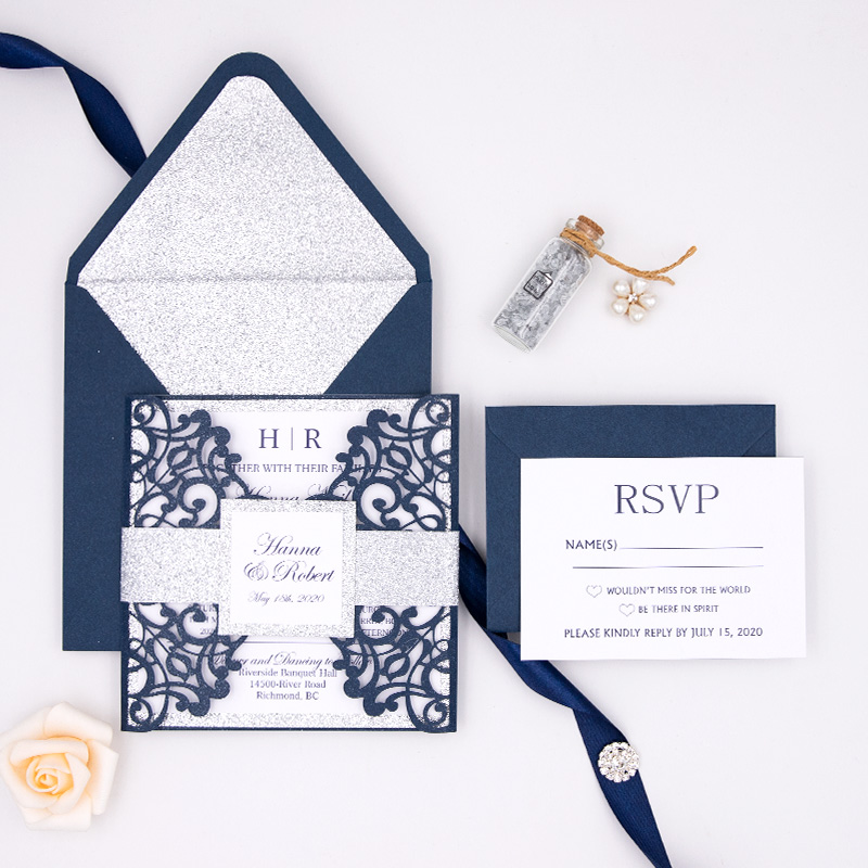 Glamorous Navy Blue Laser Cut Wedding Invite with Silver Glittery Belly Band PBWED028