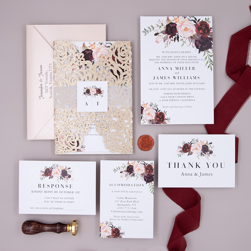 Burgundy Floral Wedding Invite Suite with Laser Cut Rose Gold Wrap and Vellum Belly Band PBWED029