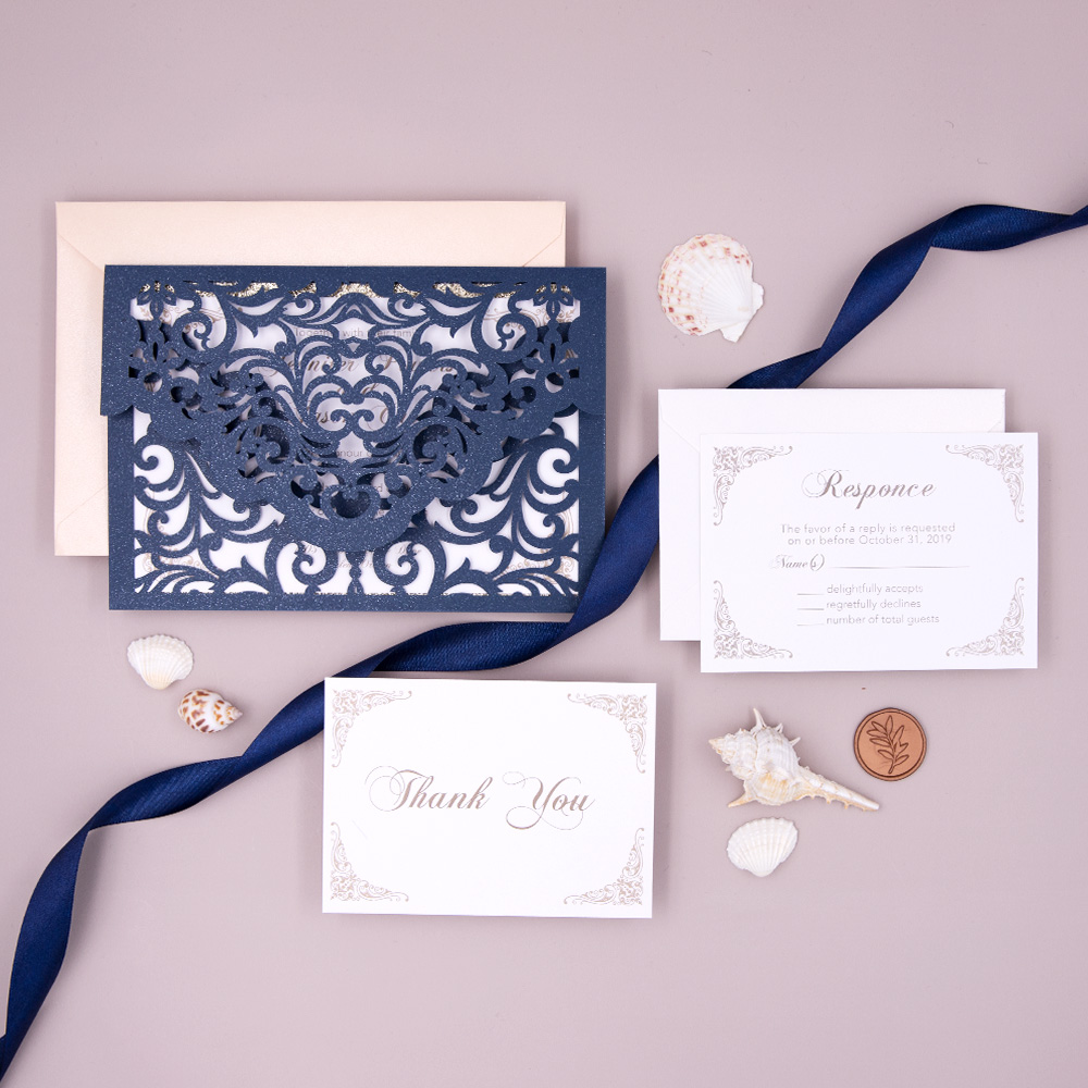 Navy Blue Laser Cut Pocket Wedding Invite with Glittery Backer PBWED030