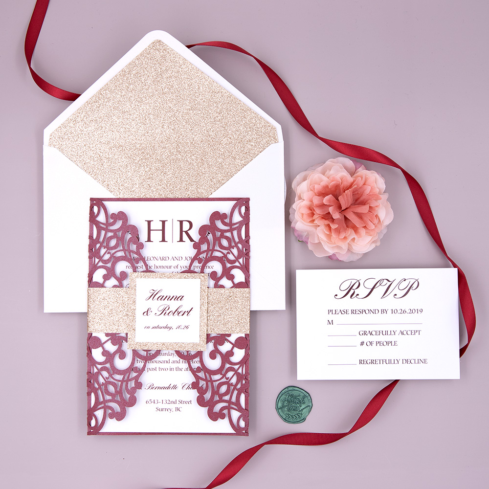 Burgundy Shimmer Wrap with Simple Wedding Invitation Card and Glittery Rose Gold Belly Band PBWED031