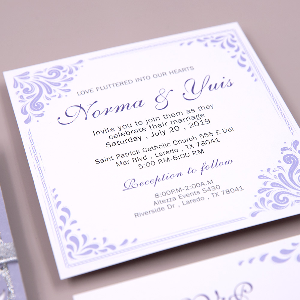 Elegant Lavender Laser Cut Wedding Invite with Silver Backer and Ribbon PBWED032