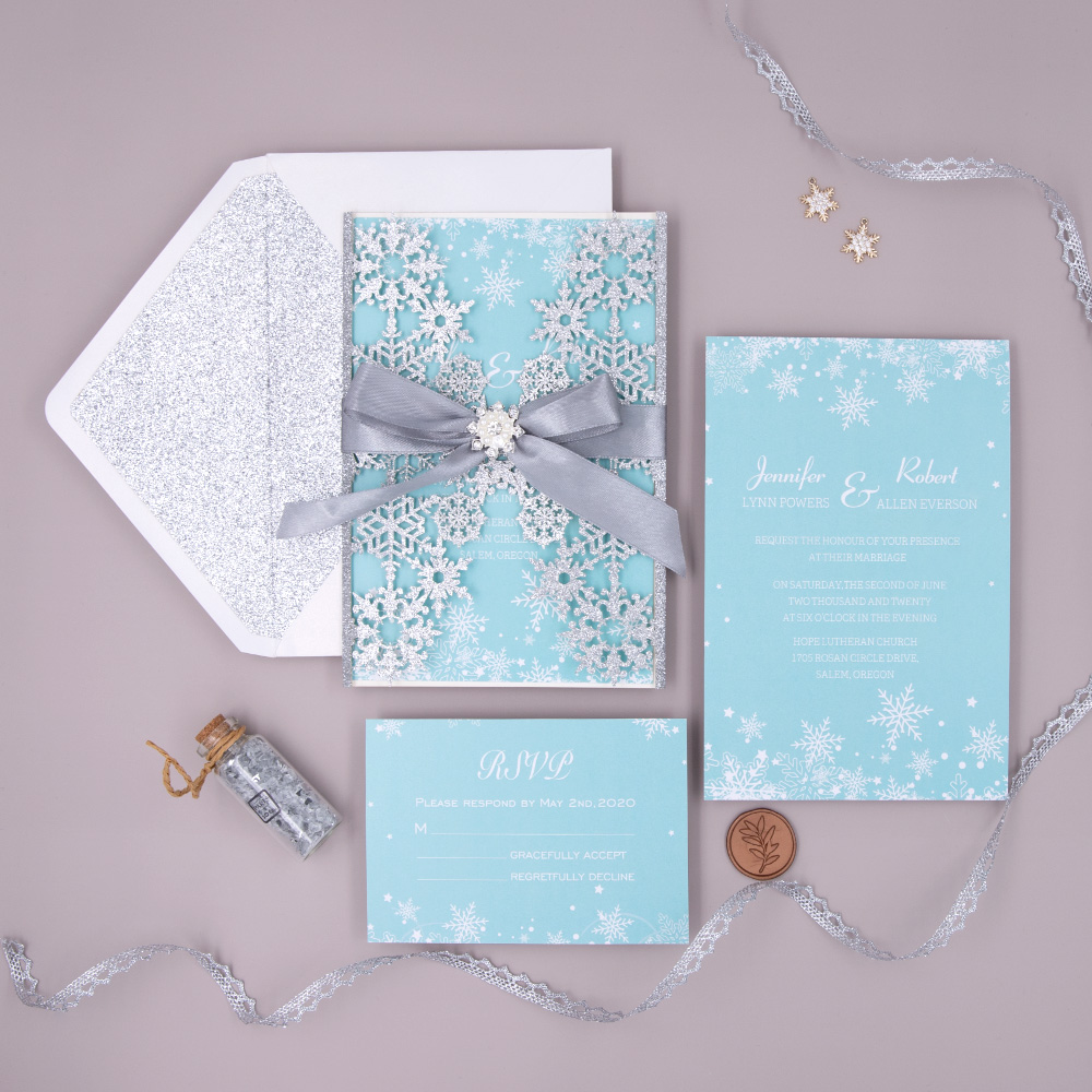 Silver Glitter Snowflake Laser Cut Wrap and Ribbon with Tiffany Inner Page Wedding Invitation Card PBWED033