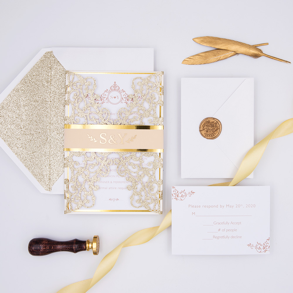 Glowing in Gold- Glittery Gold Laser Cut Wrap with Vellum Belly Band and Gold Foil Imprinting PBWED034