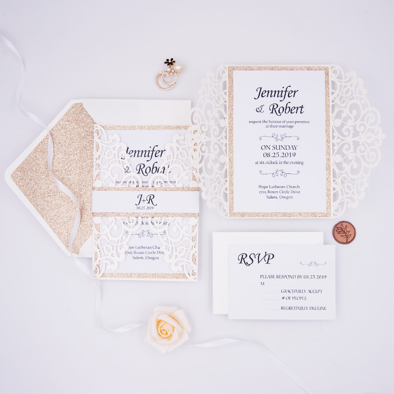Pure Ivory Shimmer Wrap with Glittery Inner Paper and Belly Band Wedding Invite PBWED035