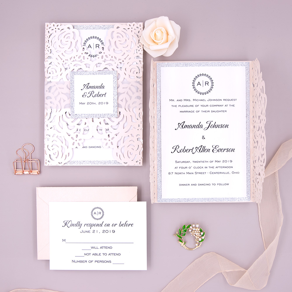 Popular Blush Pink Shimmer Laser Cut Wedding Invite with Silver Glittery Belly Band PBWED036