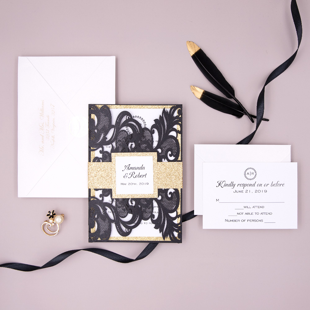 Modern Laser Cut Black Shimmer Wedding Invite with Gold Glittery Backer and Belly Band PBWED037