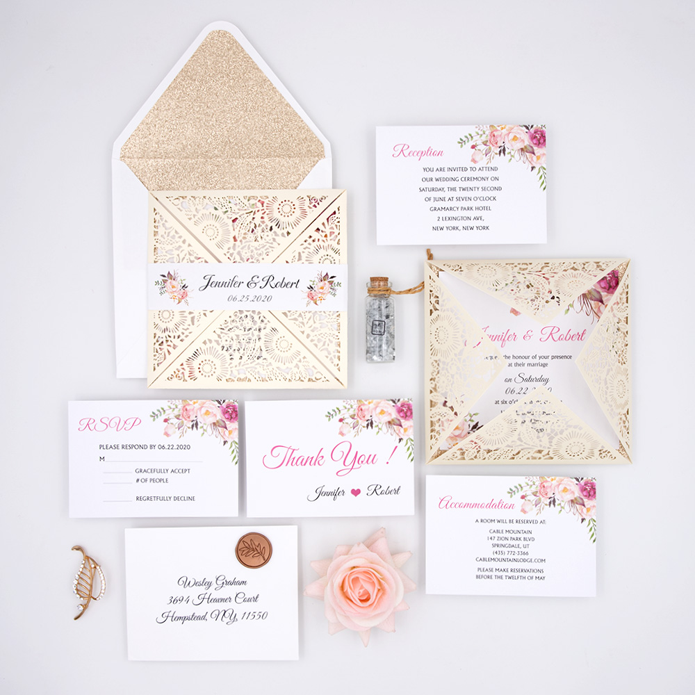 Elegant Blush Floral Ivory Laser Cut Wrap Wedding Invite Suite PBWED038