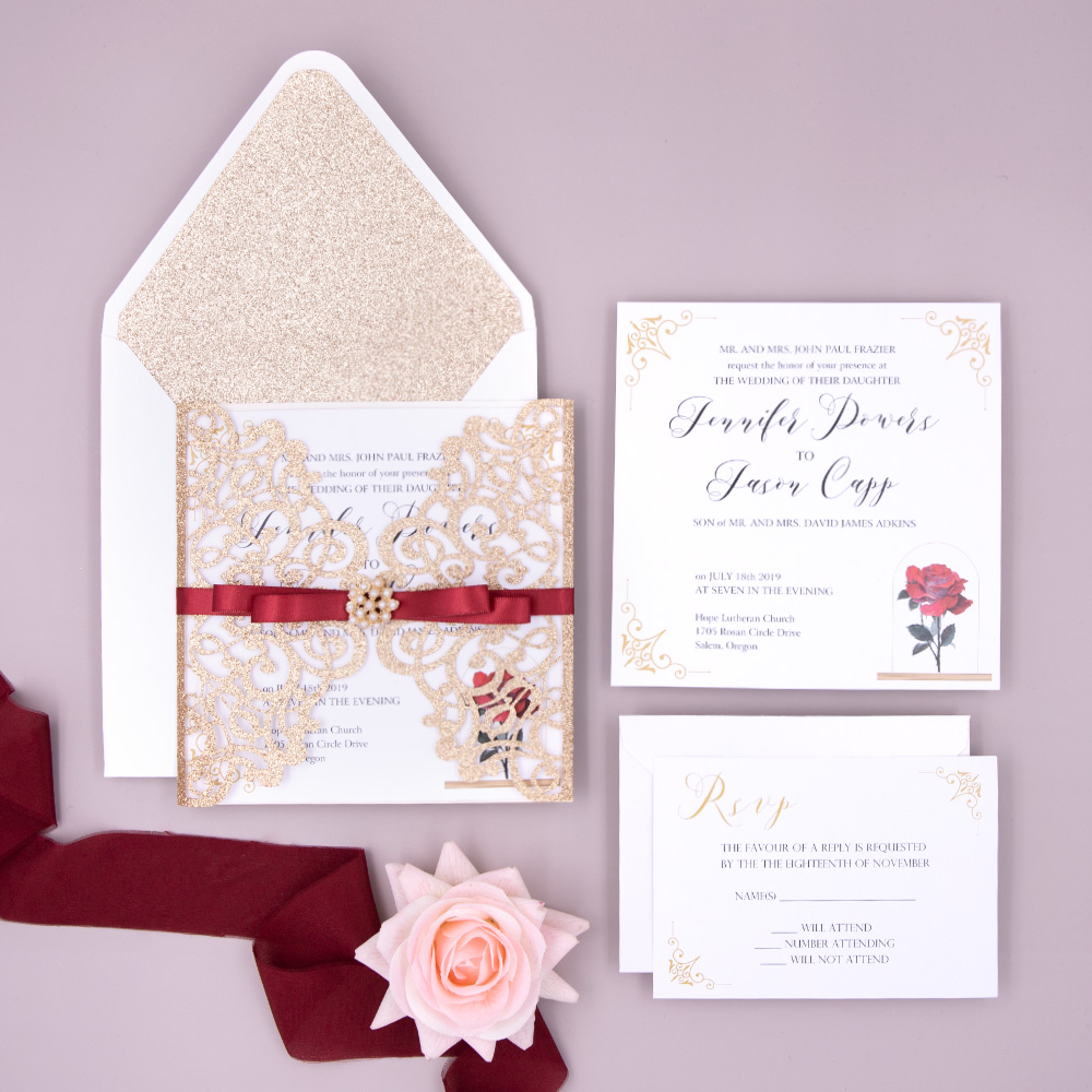 Beauty and Beast Fairytale Rose Gold Gilttery Wedding Invitation PBWED039