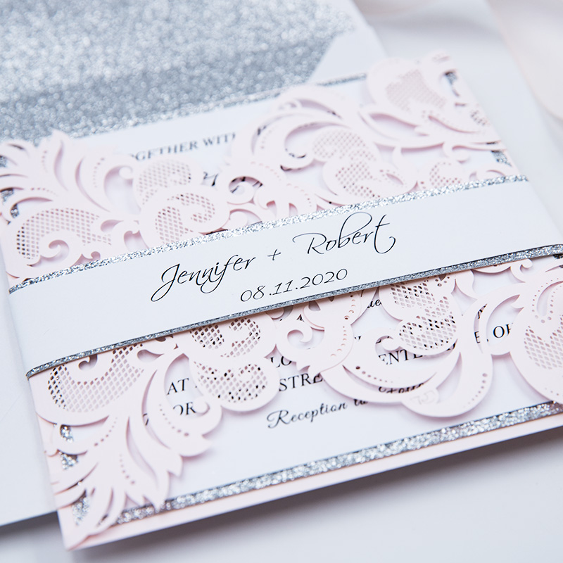 Romantic Blush Laser Cut Wedding Invite with Silver Glittery PBWED040