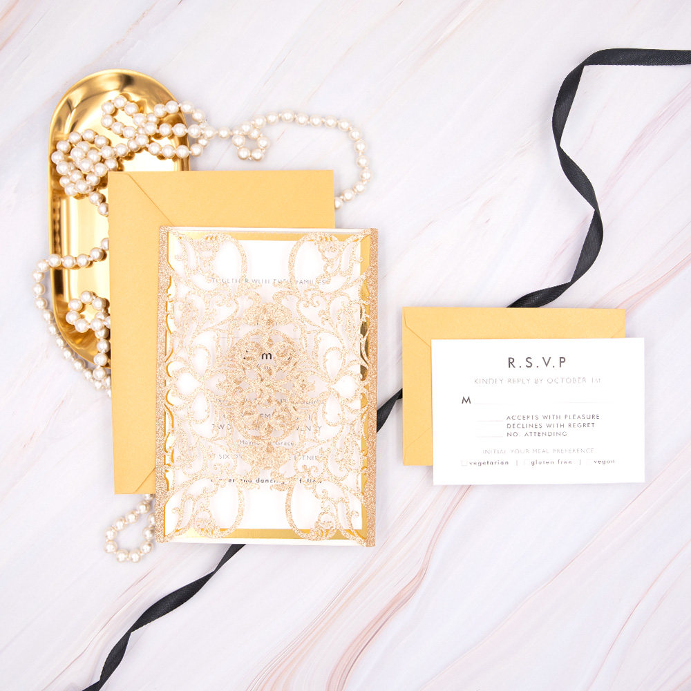 Modern Embrace-Gold Laser Cut Wrap with Modern Styled Invitation PBWED041