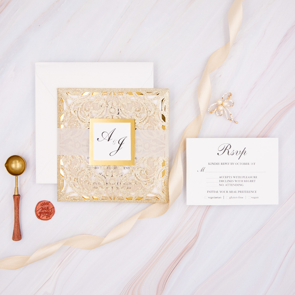 Elegant And Luxury Rose Gold Glitter Wedding Invitations With Glitter Mirror Paper Bottom PBWED042