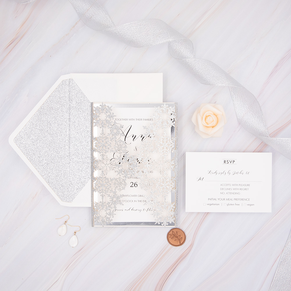 Glittery White And Silver Wedding Invitations With Glittery Custom Belly Band PBWED043
