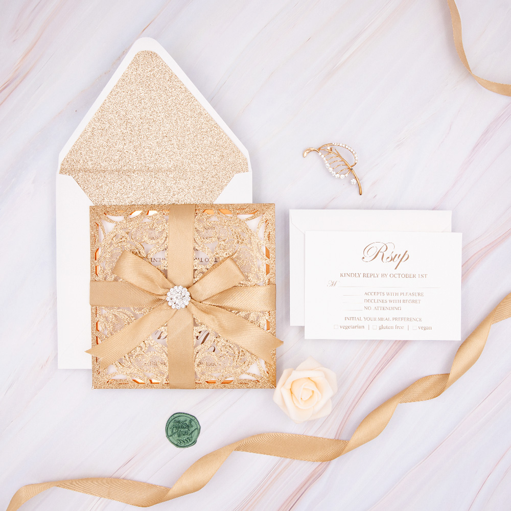 Luxurious Gold Glittery Laser Cut Wedding Invites With Pearl Buckle And Ribbon PBWED044
