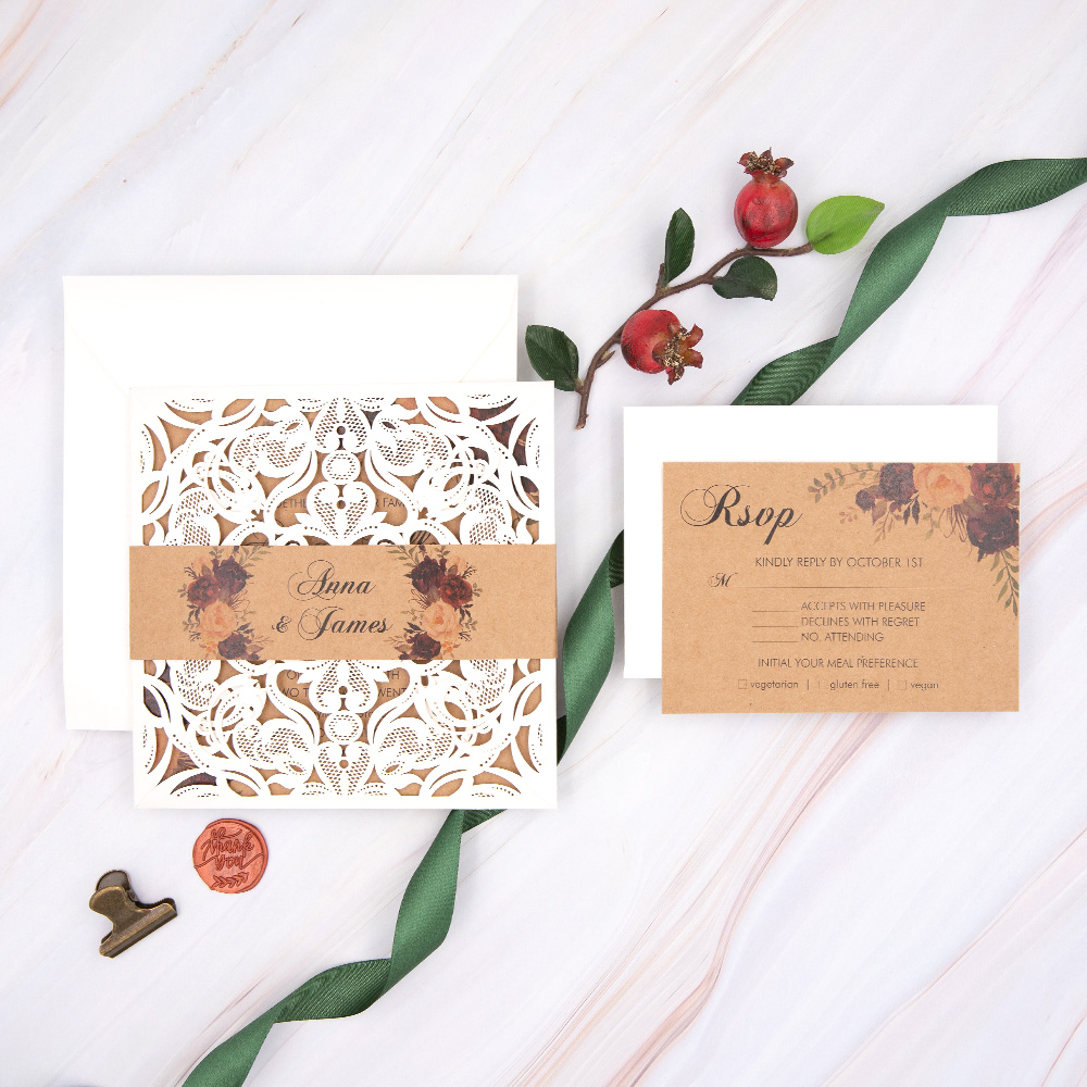 Floral Patterned Ivory Laser Cut Rustic Wedding Invitation PBWED045