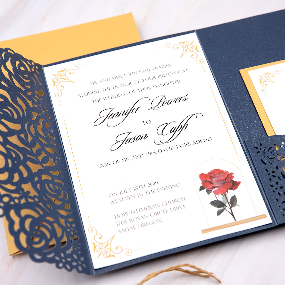 Navy Blue Beauty And The Beast Laser Cut Wedding Invitation Cards PBWED046