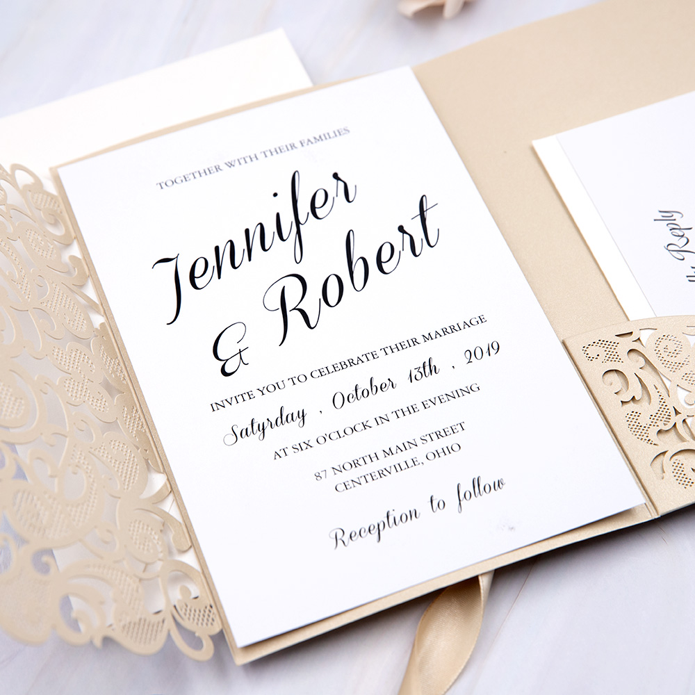 Modern Champgne Gold Laser Cut Pocket Wedding Invitation Suite PBWED047