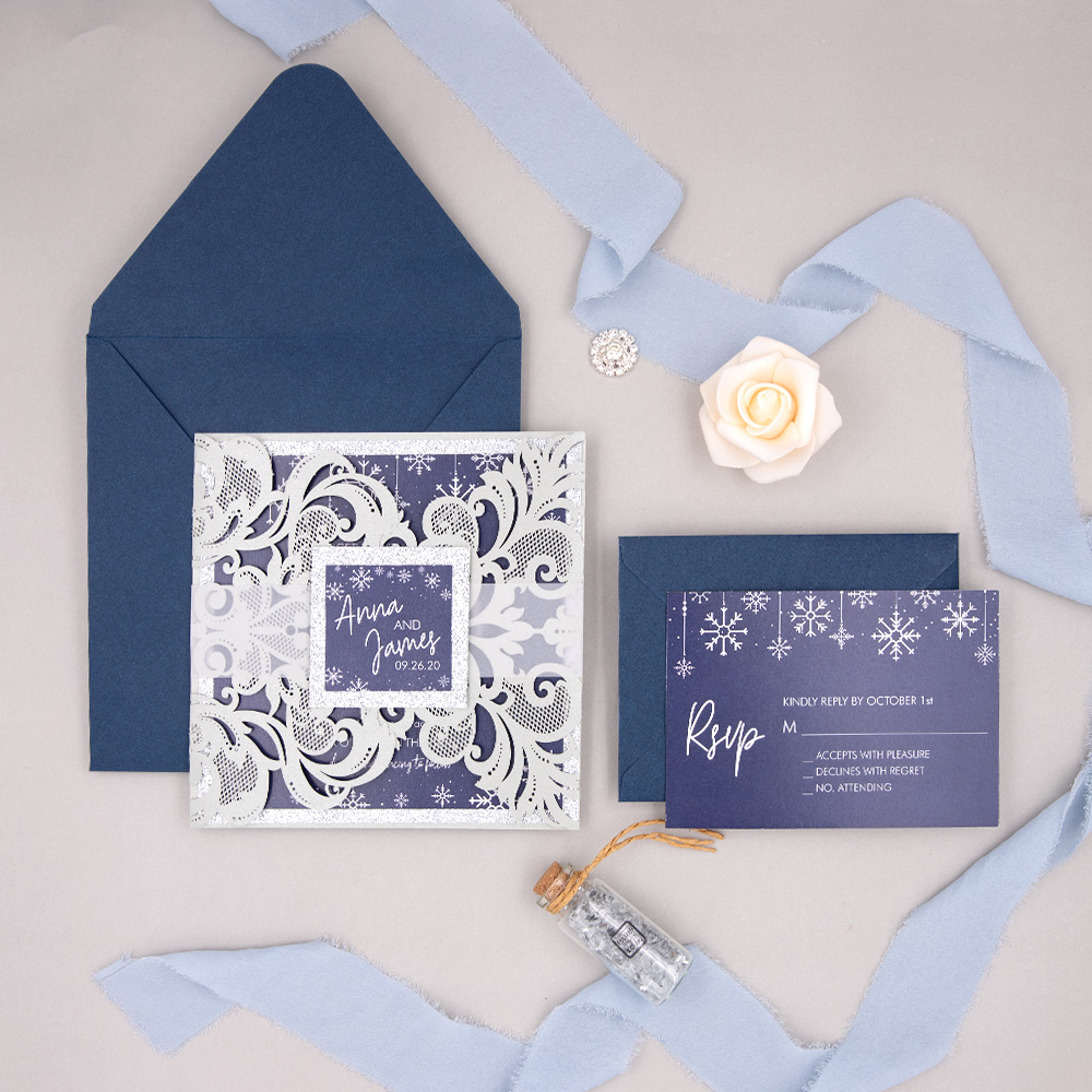 Elegant Winter Snowflake Glittery Laser Cut Wedding Invitations With Custom Belly Bands PBWED049