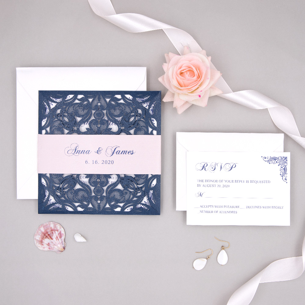 Navy Blue Laser Cut Wedding Invitation With Blush Pink Belly Band PBWED050