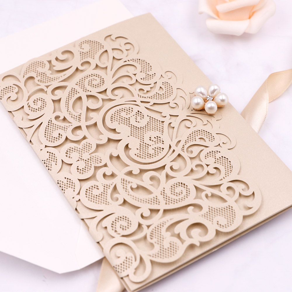 Elegant Gold Laser Cut Wedding Invitations With Matching Rsvp Cards PBWED051