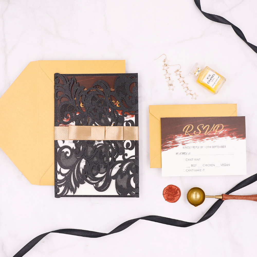 Modern Black Laser Cut Invitation With Burgundy Watercolor Inside Design And Gold Ribbon PBWED052