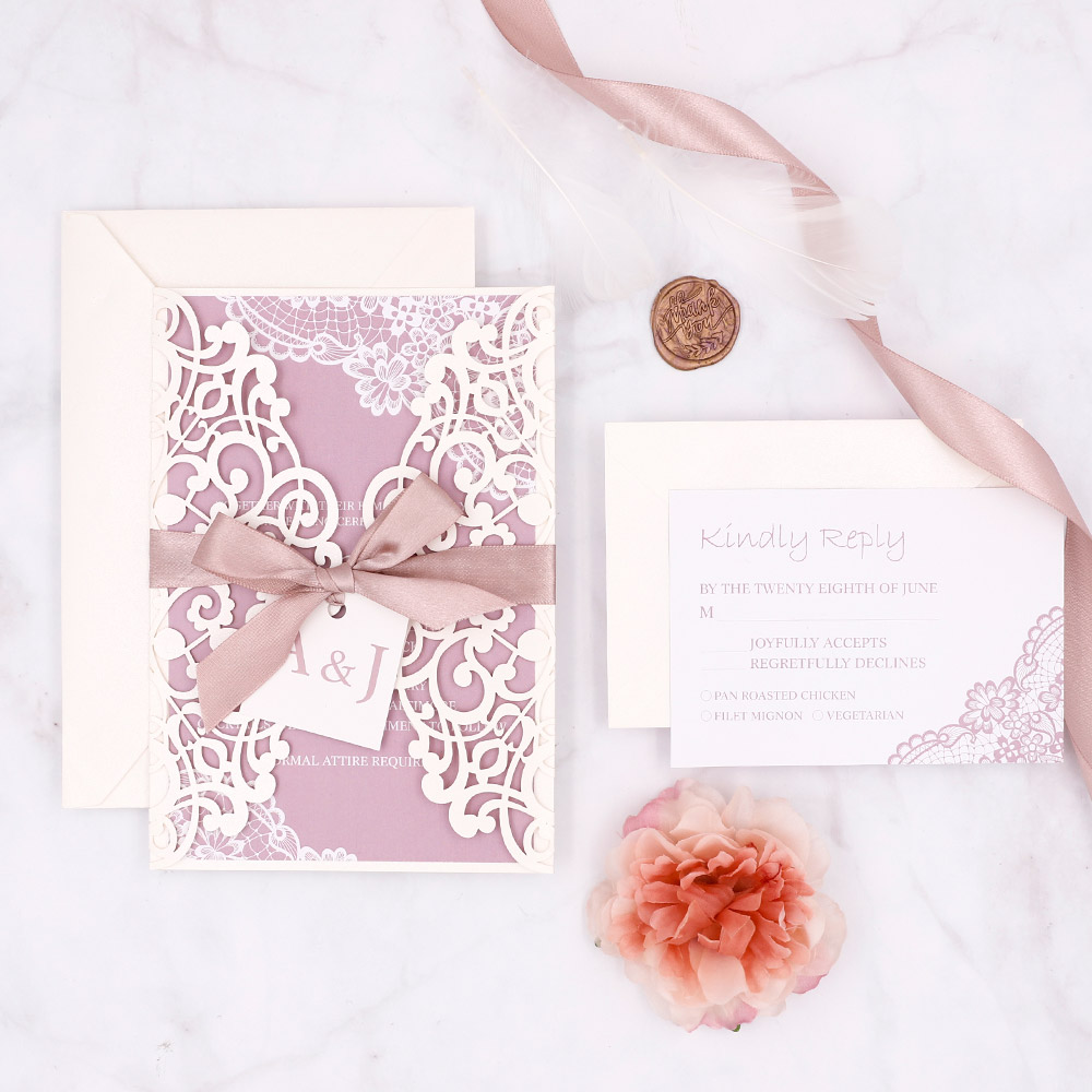 Elegant Ivory Laser Cut Invitation With Background In Mauve Colors PBWED053
