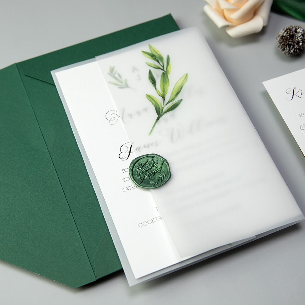Botanical Olive Leaf Wedding Invitations With Matching Vellum Paper Wrap PBWED055