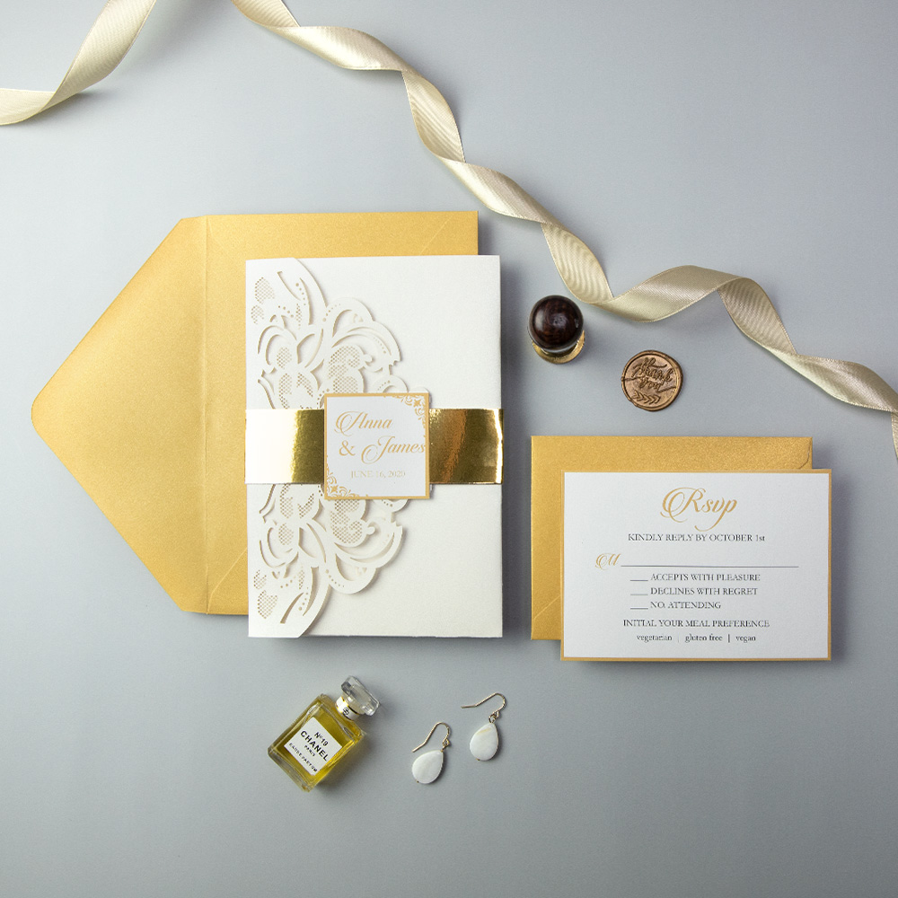 Simple Ivory Laser Cut Wedding Invitation with Gold Mirror Liner PBWED056