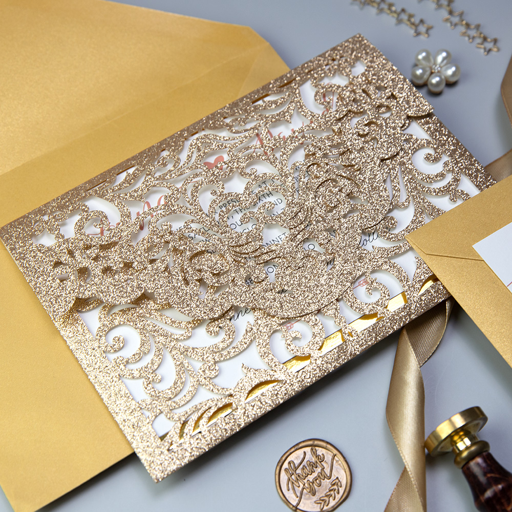 Elegant Rose Gold Glitter Laser Cut with Gold Envelope PBWED057
