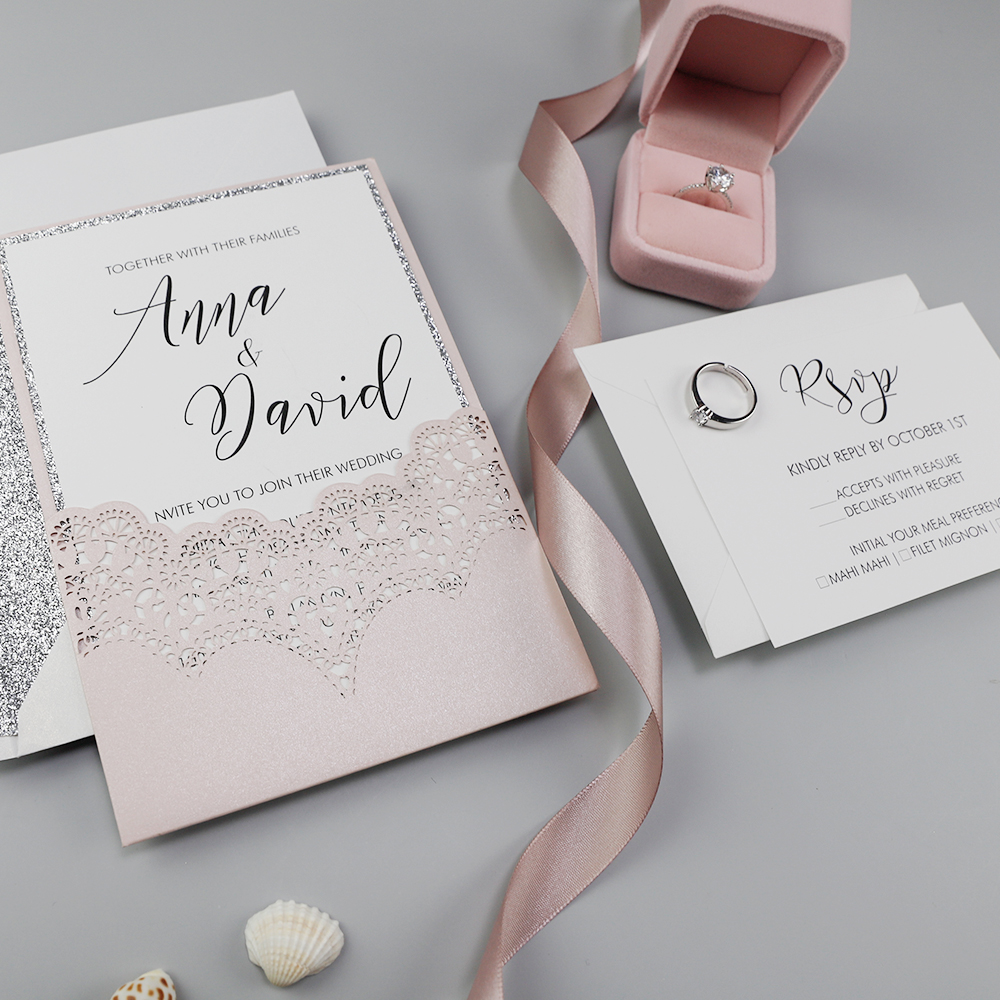 Blush and Silver Glitter Wedding Invitation with Glitter Envelopes PBWED058