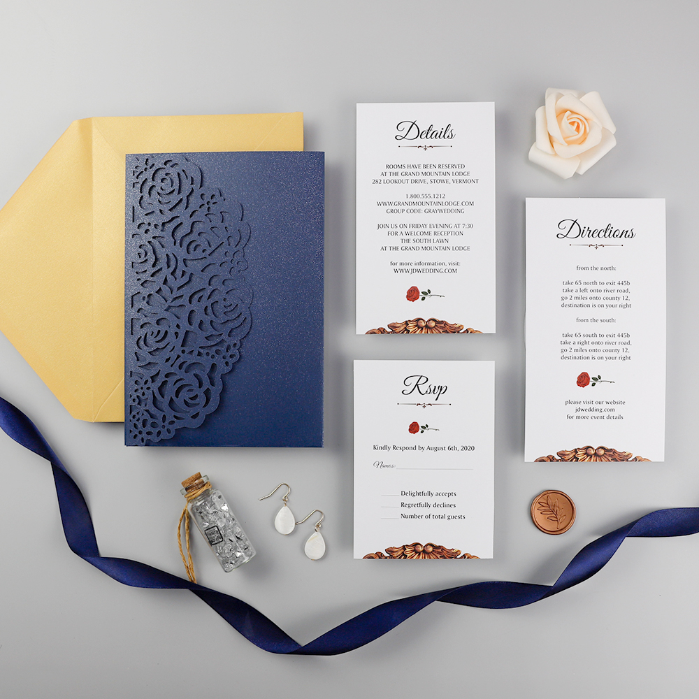 Beauty And The Beast Fairytale Navy Rose Laser Cut Wedding Invitation PBWED059