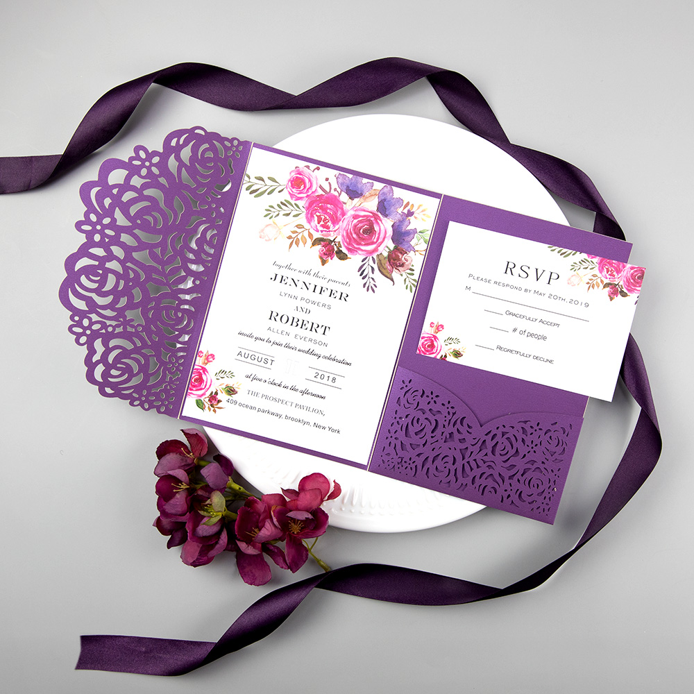 Eggplant Laser Cut Wedding Invitation With Hot Pink Floral PBWED062