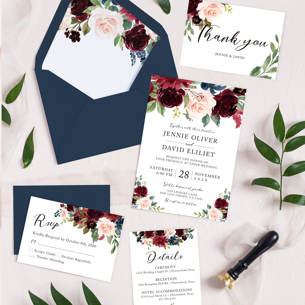 Elegant Watercolor Marsala Flowers Rustic Wedding Invitation PBWED065