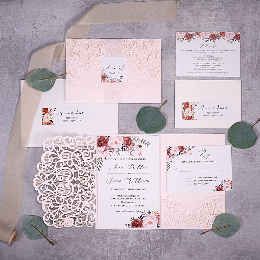Cinnamon Rose Floral and Blush Laser Cut Wedding Invitations PBWED066
