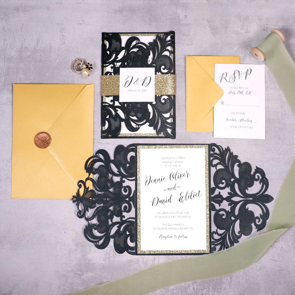 Modern Black Laser Cut Invitation with Gold Glitter Liners PBWED067