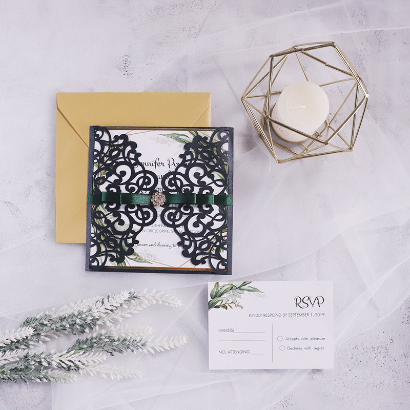 Shiny Black Laser Cut Wedding Invitations with Green Geometric Style PBWED070