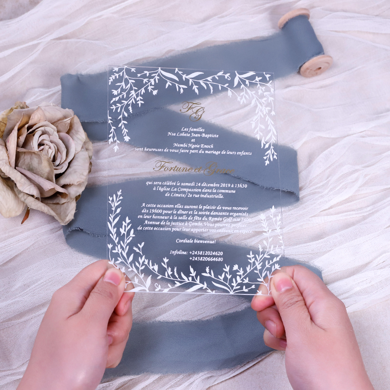 Leafy Border Acrylic Wedding Invitations Thickness 2mm with UV Printing PBWED074