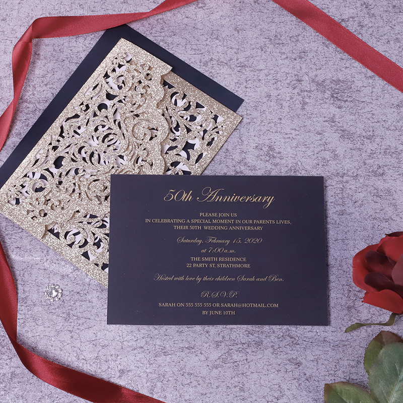 Luxury Black Rose Gold Glittery Laser Cut Wedding Invitations PBWED076