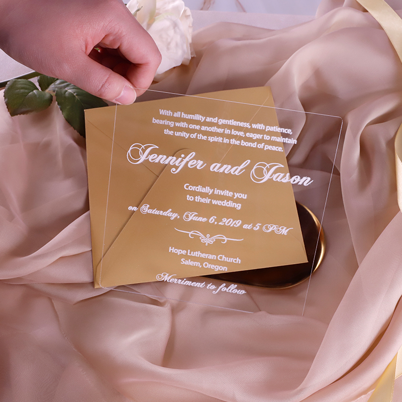 Simple Luxury Script Acrylic Wedding Invitations Thickness 2mm with UV Printing PBWED077