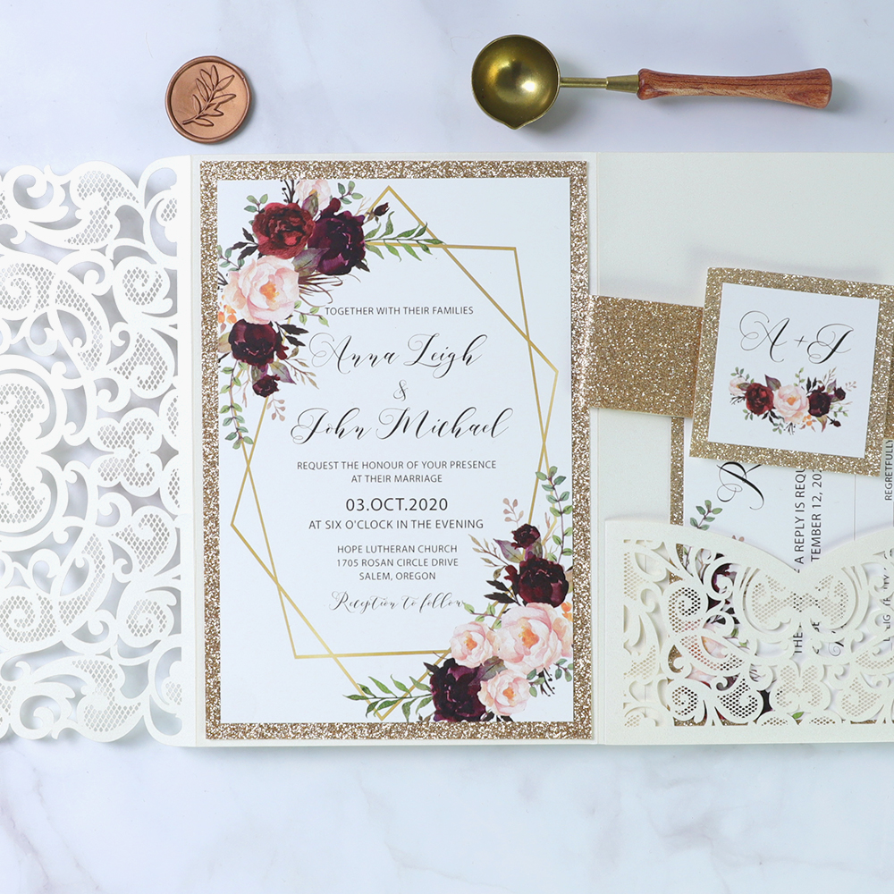 Ivory Laser Cut Pocket Wedding Invitations With Floral Pattern Around Framed Wording PBWED078