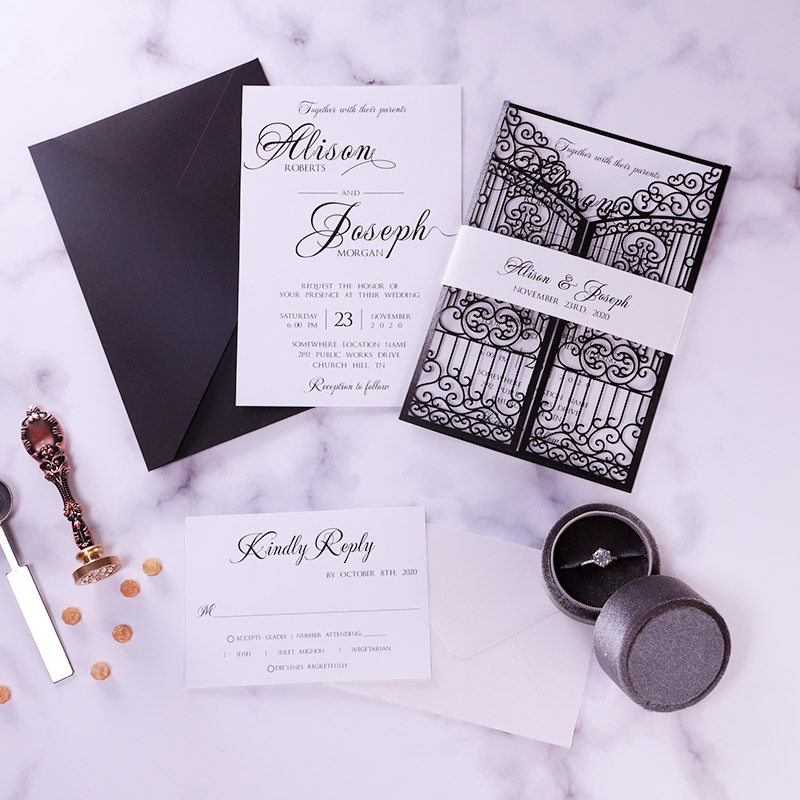 Graceful Gate Design Laser Cut Wedding Invitation with Fancy Calligraphy Wording PBWED080